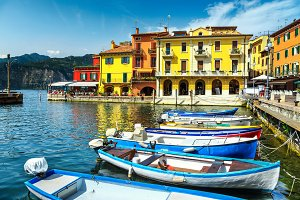 Fishing boats in harbor, Italy