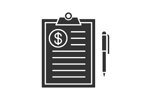 Business contract glyph icon
