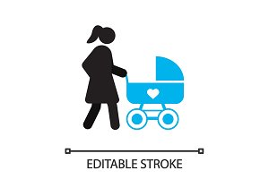 Mother with baby carriage silhouette icon