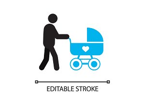 Father with baby carriage silhouette icon