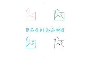 Digital image uploading hand drawn icons set