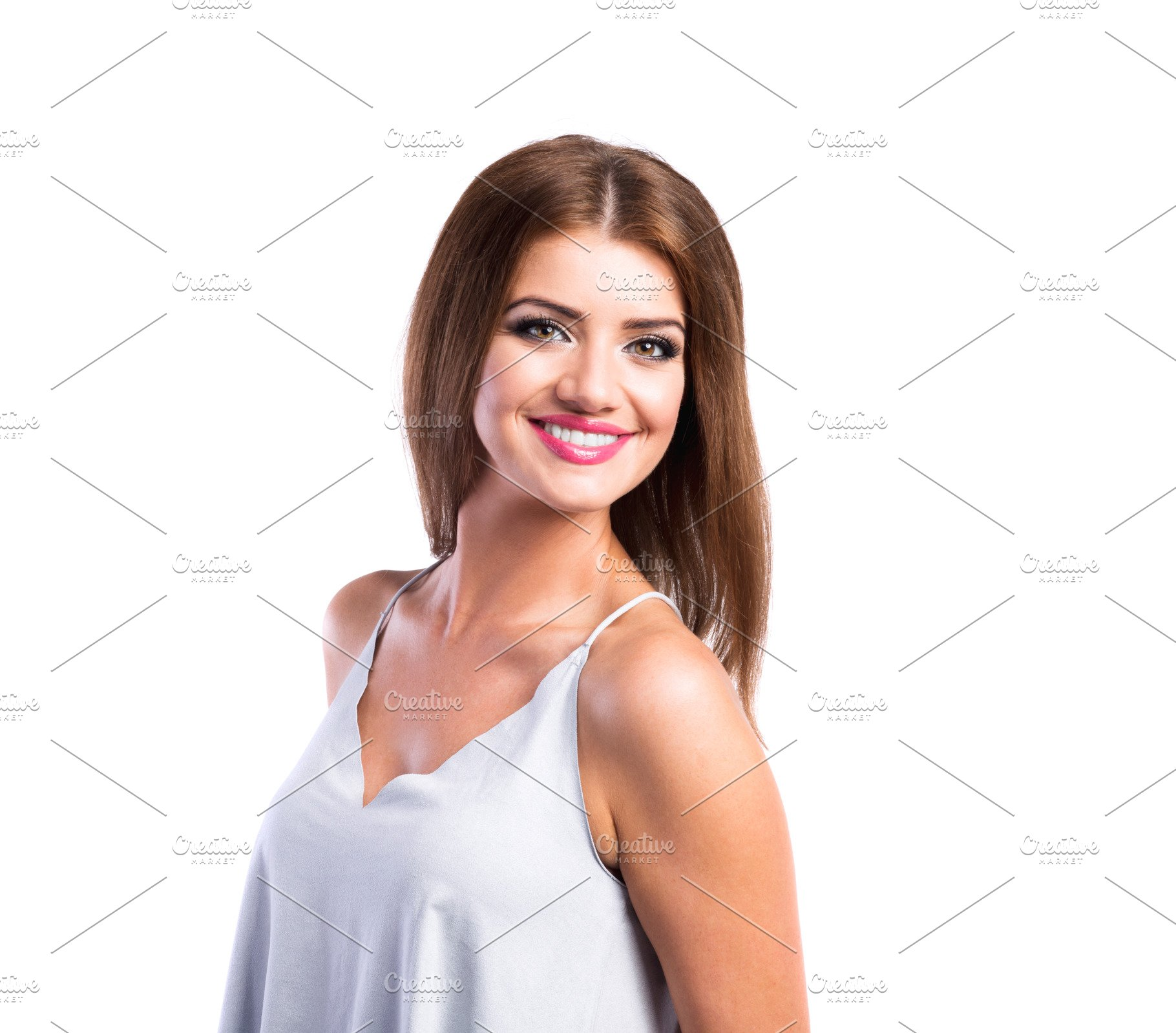d509f01c92 Young beautiful woman in white top, studio shot, isolated ~ People ...