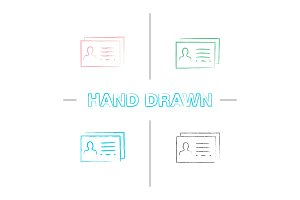 Business card template hand drawn icons set