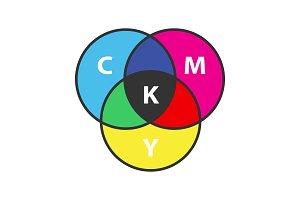 CMYK color circle model color icon