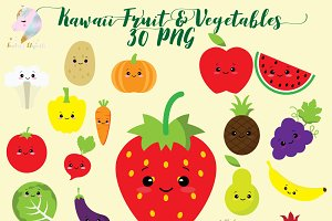 Kawaii Fruit & Vegetables Clipart