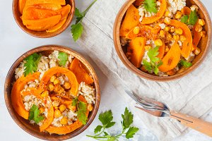 Vegan curry pumpkin rice
