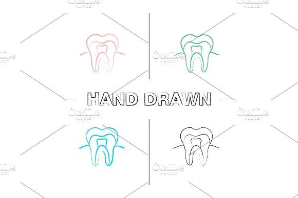 Tooth anatomical structure hand drawn icons set