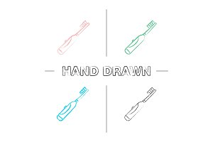 Electric toothbrush hand drawn icons set