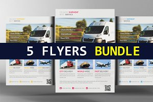 5 Delivery & Shipment Flyers Bundle