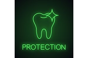 Healthy shining tooth neon light icon