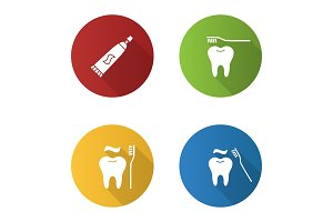 Dentistry flat design long shadow glyph icons set