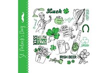 St Patricks Day doodles, Irish,green