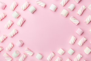 Marshmallows on tender pink