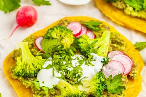 Tacos with broccoli and guacamole