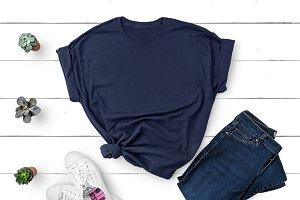 Gildan T-shirt Mockup Navy Blue