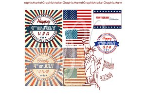 4th of July Clip Art Set. USA flags