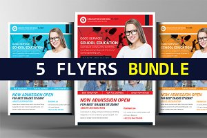 5 College Education Flyers Bundle