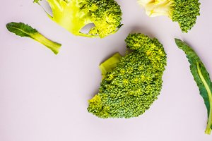 broccoli isolated on pink background