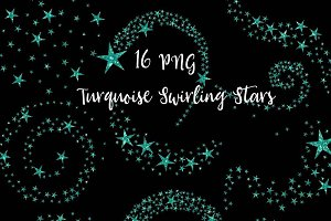 Turquoise Swirling Stars Clipart