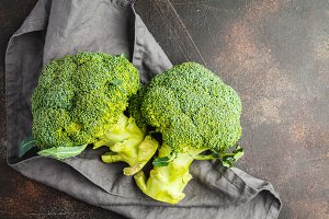 broccoli isolated on dark background