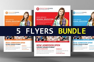 5 School Education Flyers Bundle