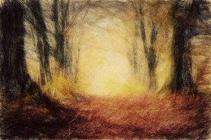 Autumn forest. Vintage art