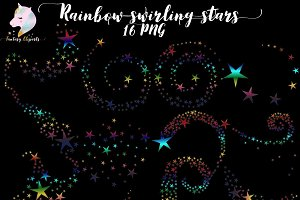 Rainbow Swirling Stars Clipart