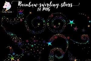 Rainbow Swirling Stars Clipart