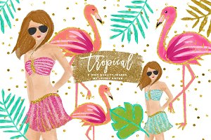 Tropical Clip Art, flamingo clipart