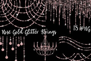 Rose Gold Glitter String of Lights