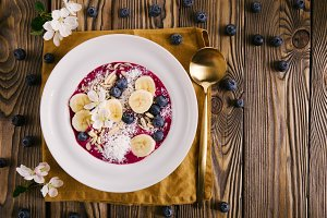 Smoothie bowl on white plate