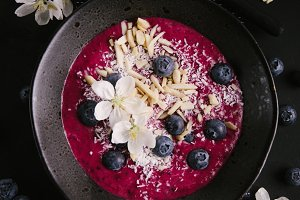 Smoothie bowl on plate