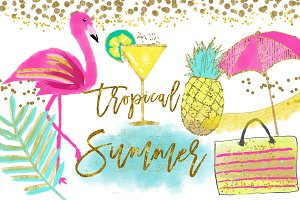 Flamingo Clipart, Pineapple Tropical