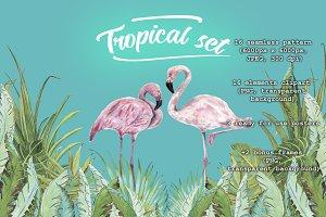 Tropical set with pink flamingos