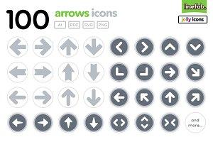 100 Arrows Icons - Jolly - Grey