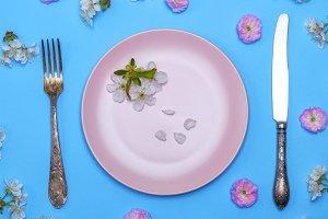 round pink ceramic plate