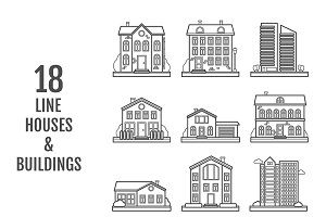 Set of 18 vector houses & buildings