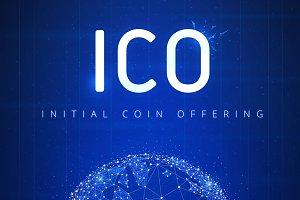 ICO initial coin offering futuristic hud banner with globe in ha