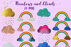 Rainbows & Clouds Clipart