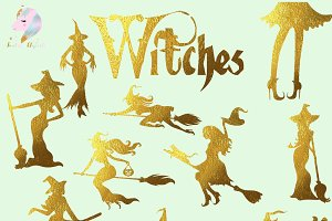 Gold Foil Hot Witches Clipart