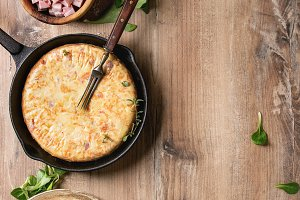 Potato tortilla with bacon