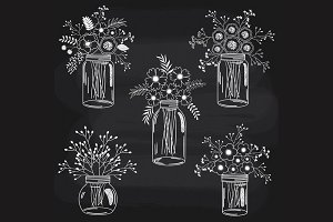 Chalkboard Flowers in Mason Jars