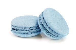 blue macaroon isolated on white background closeup