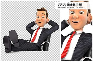 3D Businessman Relaxing on his Desk