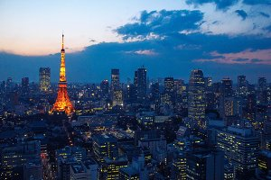 Tokyo tower and cityscape at sunset
