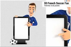 3D French Soccer Fan Billboard