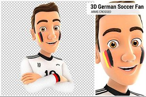3D German Soccer Fan with Arms Cross
