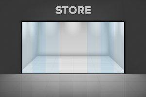 Empty illuminated store
