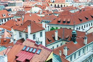 Red tiled roofs of Prague old town