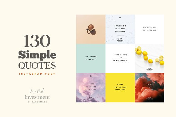 60 Social Media Quotes BUNDLE Instagram Templates Creative Market Delectable Simple Quotes